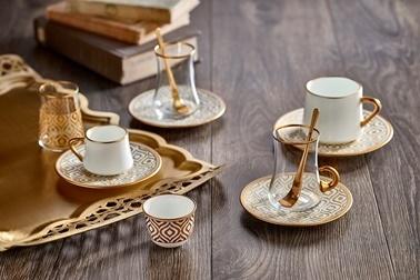 Koleksiyon Sufi Türk Kahvesi Seti 6'Lı İkat Altın Renkli